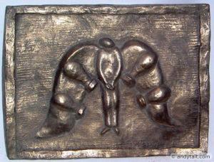 Relief of angel in bronze