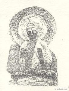 Seated Buddha etching