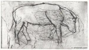 A bull grazing