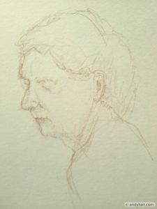 Drawing of a man's head