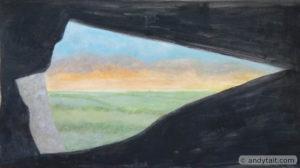 landscape seen through rocks